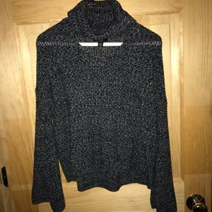 By &by grey black sweater with chest v cut